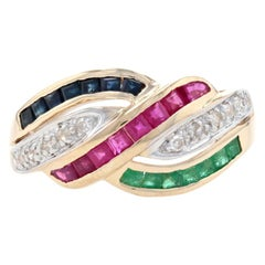 Yellow Gold Ruby Sapphire Emerald Diamond Crossover Band 14k Sq 1.20ctw Ring