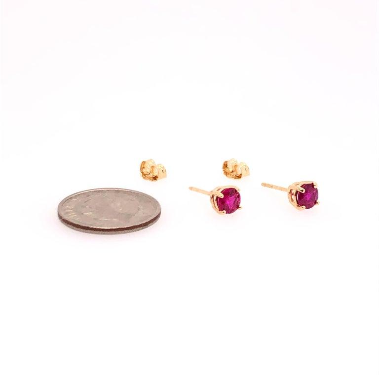 Modern Yellow Gold Ruby Stud Earrings For Sale