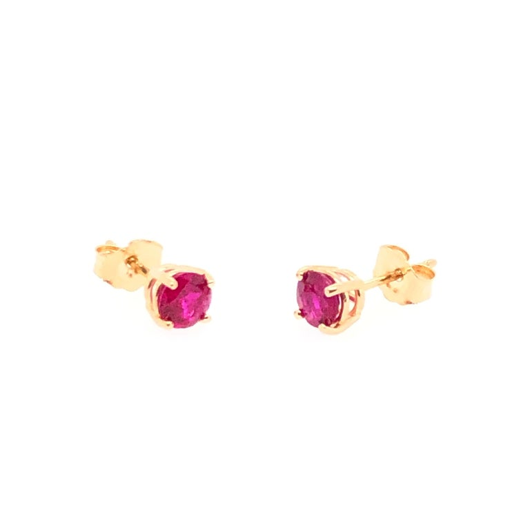 Round Cut Yellow Gold Ruby Stud Earrings For Sale