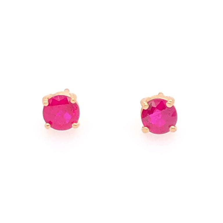 Yellow Gold Ruby Stud Earrings In New Condition For Sale In Dallas, TX