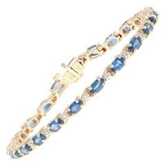 Yellow Gold Sapphire and Diamond Bracelet, 14 Karat Oval Cut 9.43 Carat Link