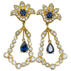 Yellow Gold, Sapphire and Diamond Earrings