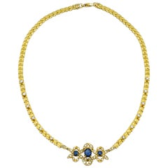 Yellow Gold, Sapphire and Diamond Necklace