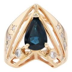 Yellow Gold Sapphire and Diamond Ring, 14 Karat Pear Brilliant Cut 2.30 Carat