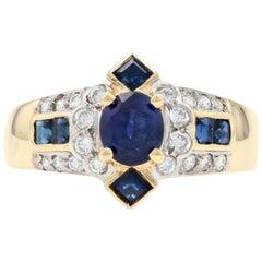 Yellow Gold Sapphire and Diamond Ring, 18 Karat Oval Brilliant 1.70 Carat