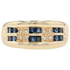 Yellow Gold Sapphire and Diamond Ring, 18 Karat Step Cut Rectangle .74 Carat