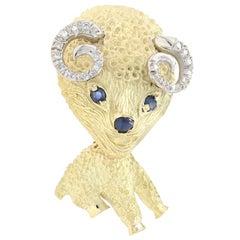 Yellow Gold Sapphire and Diamond Vintage Ram Brooch, 18k Round .65ctw Zodiac Pin