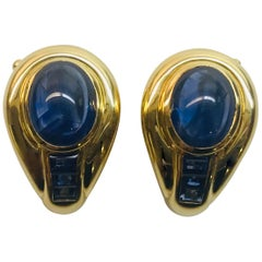 Yellow Gold Sapphire Clip Earrings
