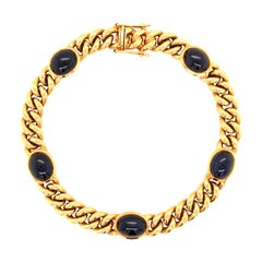 Yellow Gold Sapphire Curb Chain Bracelet