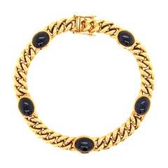Yellow Gold Sapphire Curb Chain Bracelet