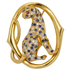 Yellow Gold Diamond Sapphire and Ruby Panther Brooch
