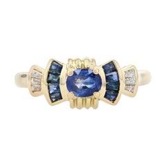 Yellow Gold Sapphire & Diamond Bow Ring, 18k Oval Cut .97ctw
