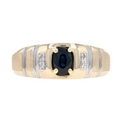 Yellow Gold Sapphire & Diamond Men's Ring, 10k Oval Cut .69ctw