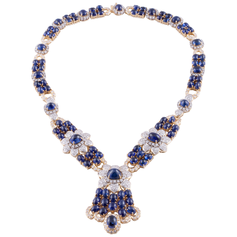 Yellow Gold Sapphire Diamond Necklace