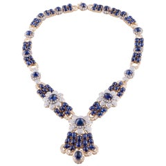Yellow Gold Sapphire Diamond Necklace