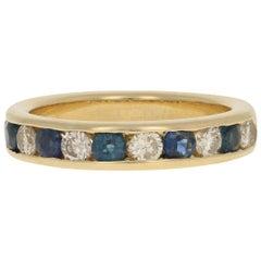 Yellow Gold Sapphire & Diamond Wedding Band, 18 Karat Round Cut 1.47 Carat Ring