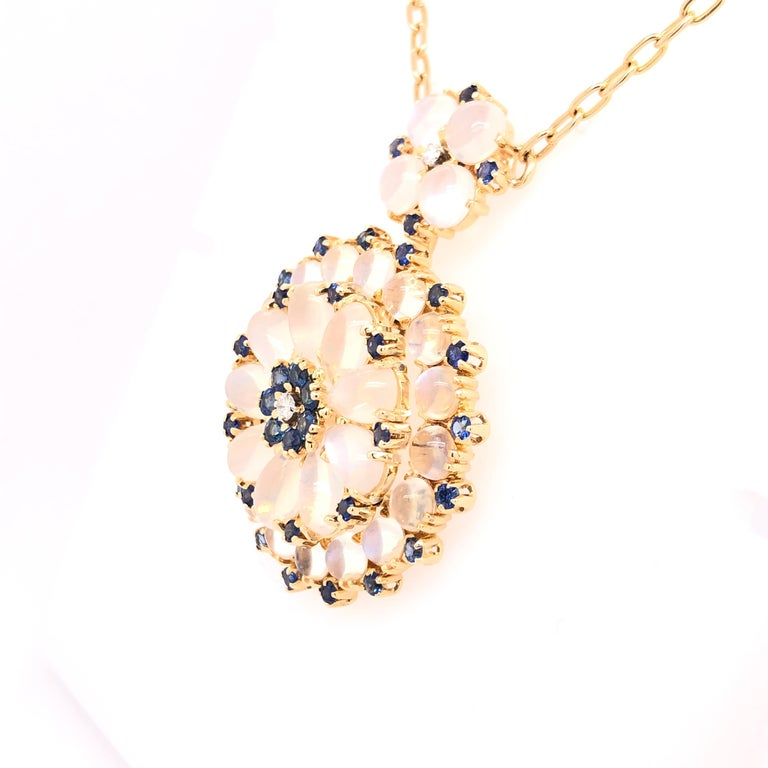 Victorian Yellow Gold Sapphire Moonstone and Diamond Pendant For Sale