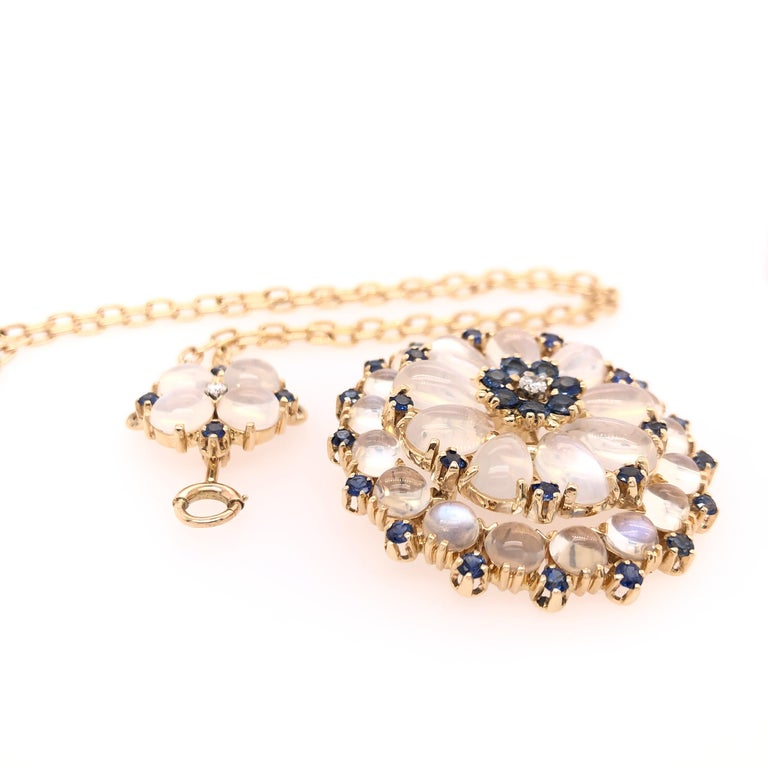 Women's or Men's Yellow Gold Sapphire Moonstone and Diamond Pendant For Sale