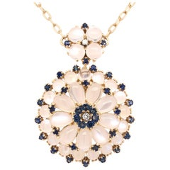 Yellow Gold Sapphire Moonstone and Diamond Pendant