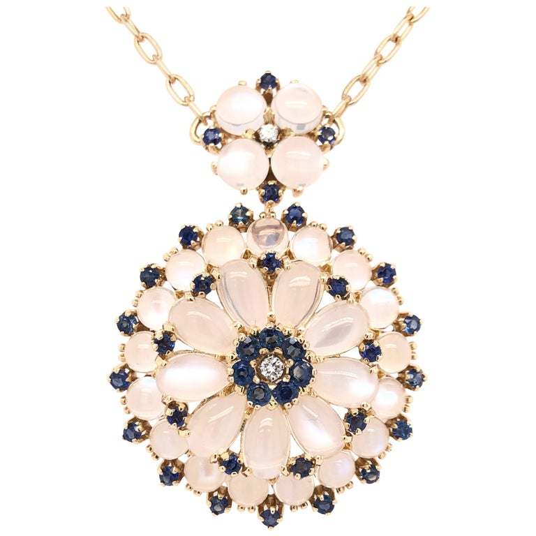Yellow Gold Sapphire Moonstone and Diamond Pendant For Sale
