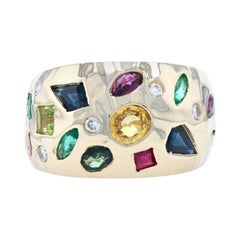 Yellow Gold Sapphire Ruby Emerald Cluster Band, 14k Oval 2.06ctw Ring
