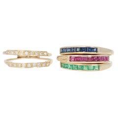 Yellow Gold Sapphire, Ruby, Emerald, Diamond Rings 14 Karat Square 1.18 Carat