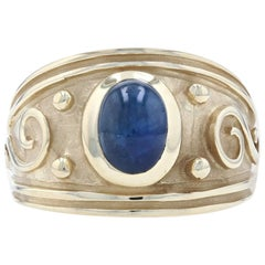 Yellow Gold Sapphire Solitaire Ring, 14 Karat Oval Cabochon Cut 2.10 Carat