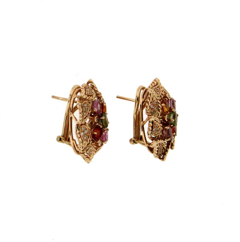 Yellow Gold 14 Carat Sapphires Diamonds Stud Earrings  Gold weight 12.70 grams Sapphires 3.86 Carat Diamonds 0.36 Carat