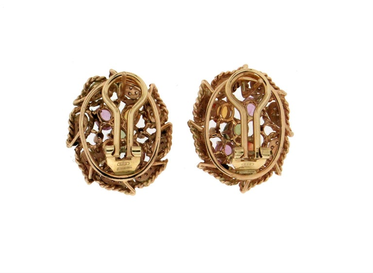Retro Yellow Gold Sapphires Diamonds Stud Earrings For Sale