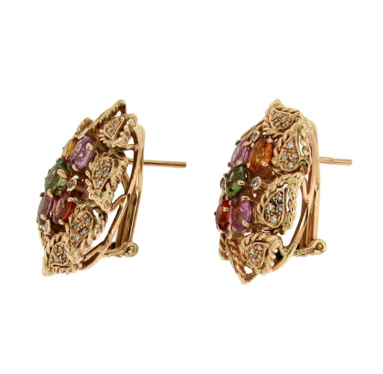 14 karat Yellow Gold Sapphires Diamonds Stud Earrings In New Condition For Sale In Marcianise, IT