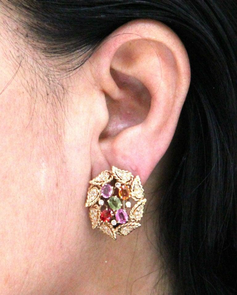 Women's or Men's Yellow Gold Sapphires Diamonds Stud Earrings For Sale