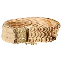 Yellow Gold Scalloped Link Bracelet