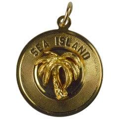 Yellow Gold Sea Island Palm Tree Charm Pendant