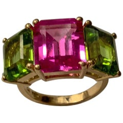 Yellow Gold Semi Precious Mini Emerald Cut Ring with Pink Topaz and Peridot