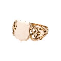 Estate 18K Gold Signet Ring with Openwork Shoulders