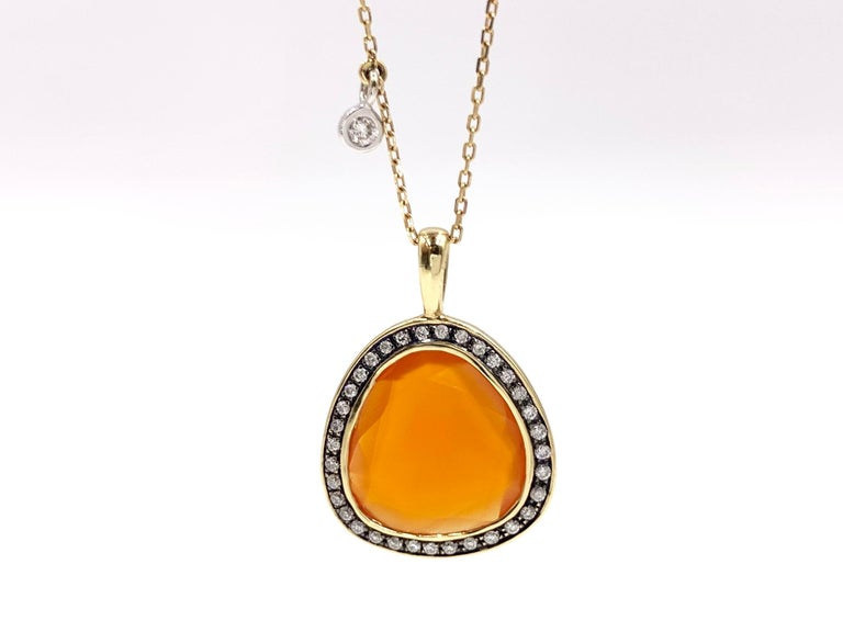 Mixed Cut Yellow Gold Sliced Fire Opal and Diamond Pendant Necklace For Sale