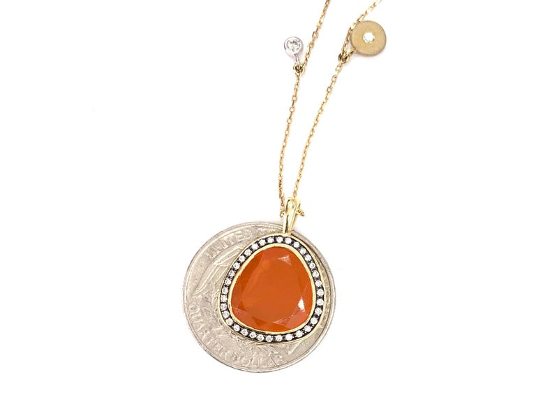 Women's or Men's Yellow Gold Sliced Fire Opal and Diamond Pendant Necklace For Sale