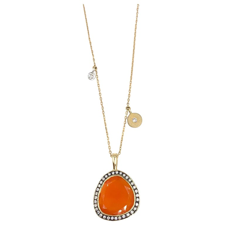 Yellow Gold Sliced Fire Opal and Diamond Pendant Necklace For Sale