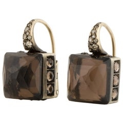 Yellow Gold Smokey Quartz Diamond Earrings