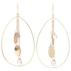 Yellow Gold Smoky Quartz Teardrop Dangle Earrings, 14k Briolette Cut Pierced