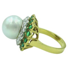 Yellow Gold, South Sea Pearl, Diamond and Emerald Ring
