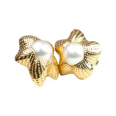 Yellow Gold Star Shaped Mabe Pearl Clip on Earrings