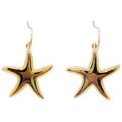 Yellow Gold Starfish Dangle Earrings in 14 Karat Gold