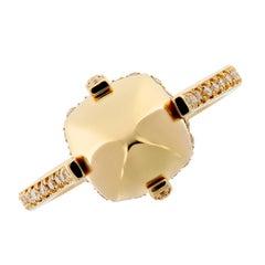 Yellow Gold Surgarloaf Pave Diamond Ring