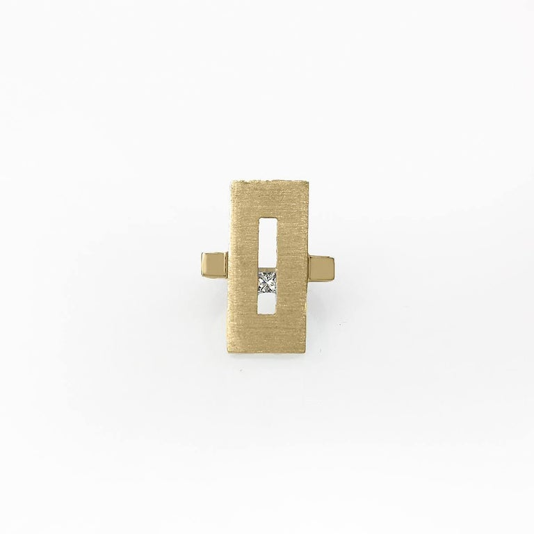Princess Cut Yellow Gold Suspended Rectangle Ring with Diamond For Sale