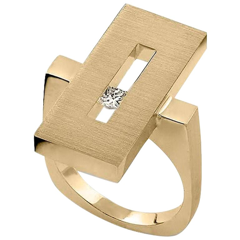 Yellow Gold Suspended Rectangle Ring with Diamond For Sale