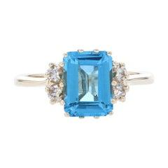 Yellow Gold Swiss Blue Topaz & Diamond Ring, 14k Emerald Cut 2.50ctw