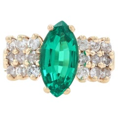 Yellow Gold Synthetic Emerald & Diamond Ring, 14k Marquise Cut 2.44ctw