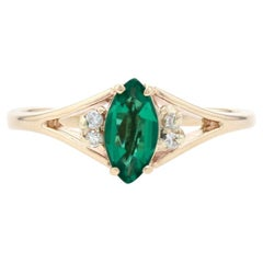 Yellow Gold Synthetic Emerald & Diamond Ring, 14k Marquise Cut .64ctw