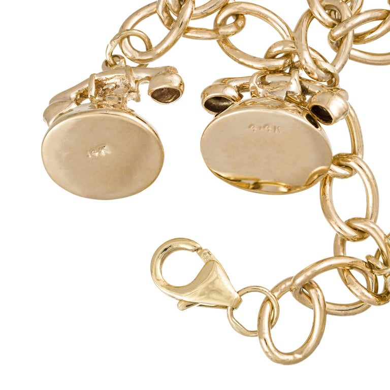 Yellow Gold Telephone Charm Link Bracelet In Good Condition For Sale In Stamford, CT